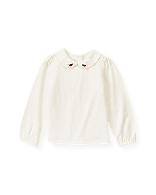 Jet Ivory Hand-Embroidered Rosette Collar Top at JanieandJack