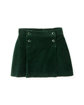 Pine Green Button Pleated Velveteen Skirt at JanieandJack