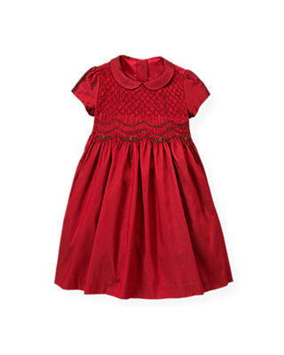 Holiday Red Hand-Smocked Silk Dress at JanieandJack
