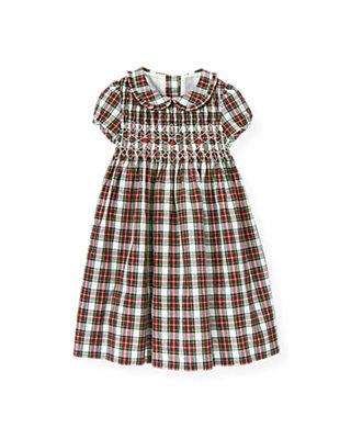 Pine Green Plaid Hand-Embroidered Smocked Plaid Dress at JanieandJack