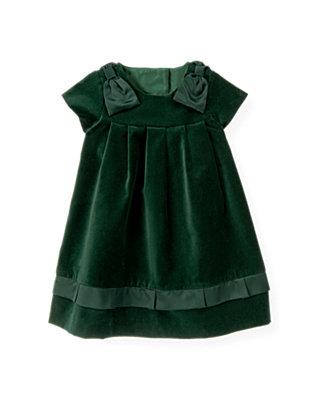 Pine Green Bow Velveteen Dress at JanieandJack