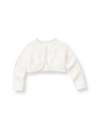 Jet Ivory Pointelle Crop Cardigan at JanieandJack