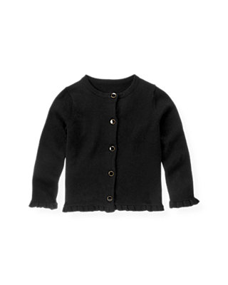 Black Enamel Button Cardigan at JanieandJack