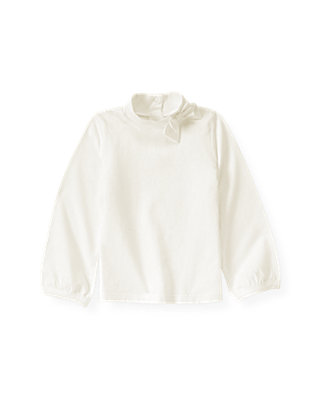 Jet Ivory Bow Turtleneck Top at JanieandJack