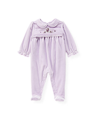 Hortensia Purple Hand-Embroidered Velour One-Piece at JanieandJack