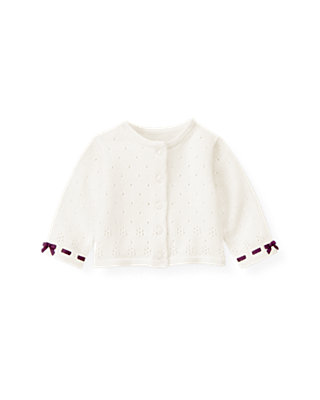 Jet Ivory Interlaced Pointelle Sweater Cardigan at JanieandJack