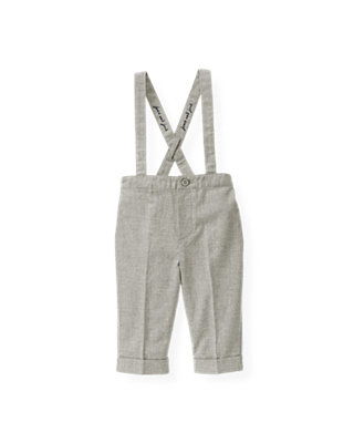 Heather Grey Heathered Twill Suspender Pant at JanieandJack