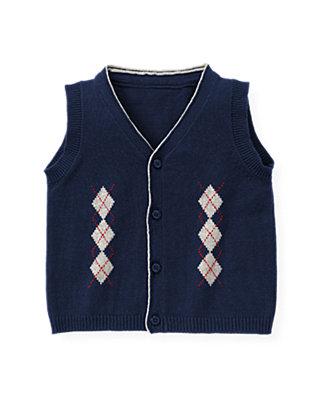 London Navy Argyle Sweater Vest at JanieandJack