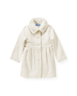 Jet Ivory Faux Fur Collar Melton Dress Coat at JanieandJack