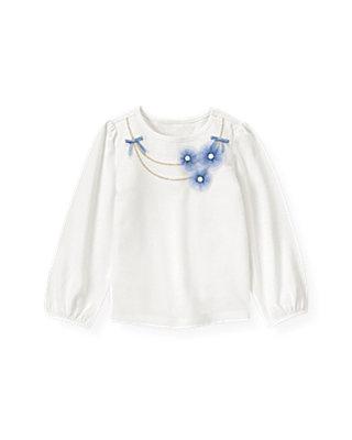 Jet Ivory Tulle Rosette Necklace Top at JanieandJack