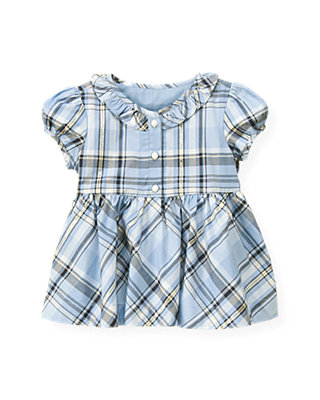 Winter Blue Plaid Metallic Plaid Top at JanieandJack