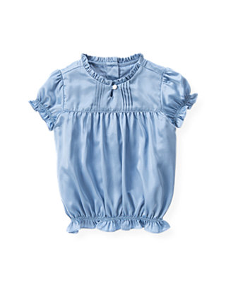 Winter Blue Pintucked Charmeuse Top at JanieandJack