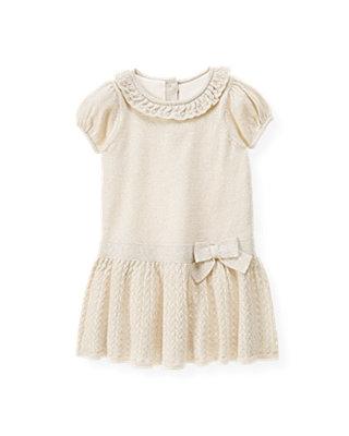Golden Ivory Metallic Pointelle Sweater Dress at JanieandJack
