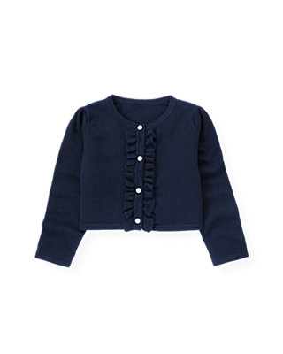 Navy Rose Ruffle Crop Cardigan at JanieandJack