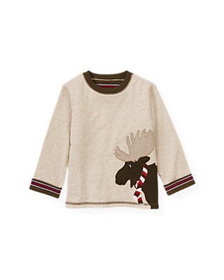 Stone Khaki Reversible Moose Tee at JanieandJack