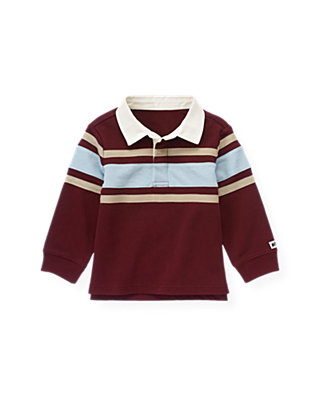 Port Wine Stripe Rugby Shirt at JanieandJack