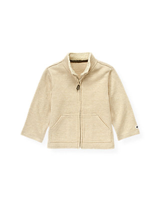 Stone Khaki Zip Cardigan at JanieandJack