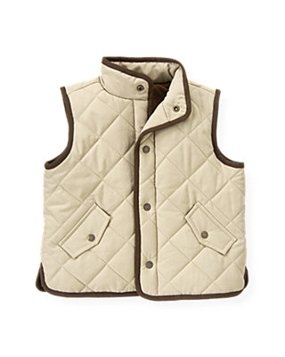 Stone Khaki Quilted Barn Vest at JanieandJack