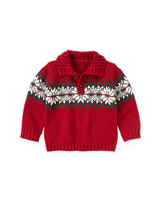 Red Holly Fair Isle Sweater at JanieandJack