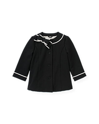 Black Ribbon Bow Ponte Jacket at JanieandJack