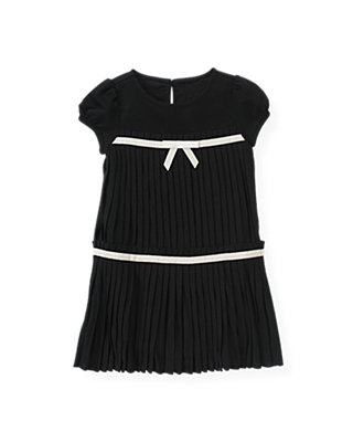Black Ribbon Bow Pleated Dress at JanieandJack