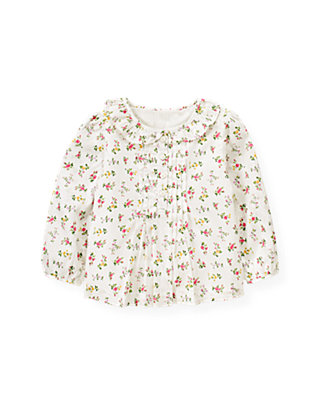 Holiday Rose Pink Floral Floral Sateen Top at JanieandJack