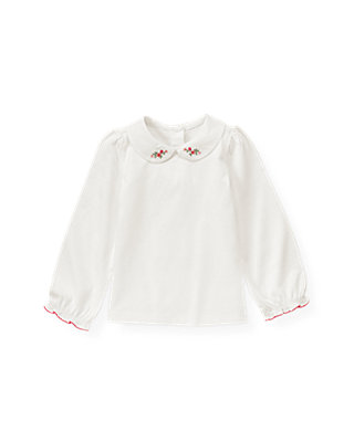 Jet Ivory Hand-Embroidered Floral Collar Top at JanieandJack