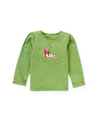 Winter Green Reindeer Appliqué Top at JanieandJack