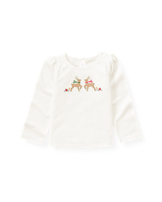 Jet Ivory Hand-Embroidered Reindeer Top at JanieandJack