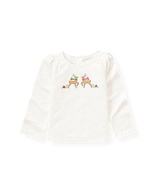 Jet Ivory Hand-Embroidered Reindeer Top at JanieandJack
