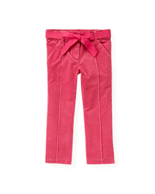 Bright Pink Belted Corduroy Pant at JanieandJack