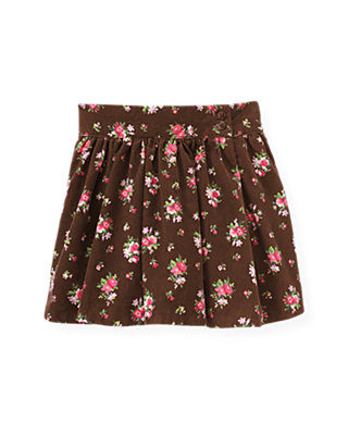 Reindeer Brown Floral Floral Corduroy Skirt at JanieandJack