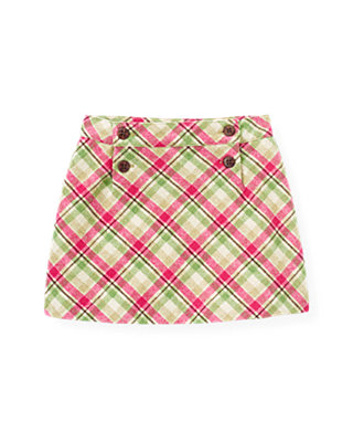Bright Pink Plaid Plaid Woolen Skirt at JanieandJack