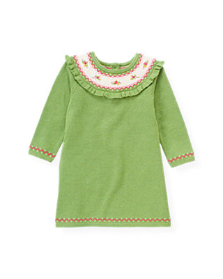 Winter Green Hand-Embroidered Fair Isle Sweater Dress at JanieandJack
