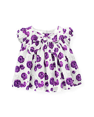 Royal Plum Floral Bow Floral Sateen Top at JanieandJack