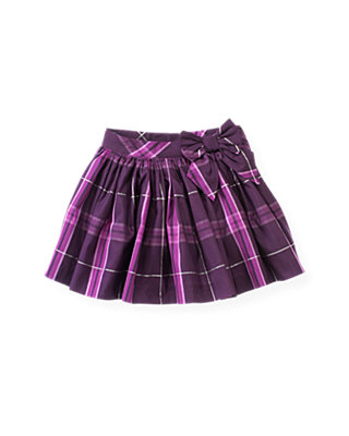 Royal Plum Plaid Metallic Plaid Skirt at JanieandJack
