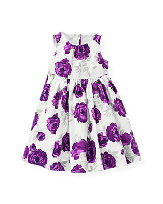 Royal Plum Floral Floral Sateen Dress at JanieandJack