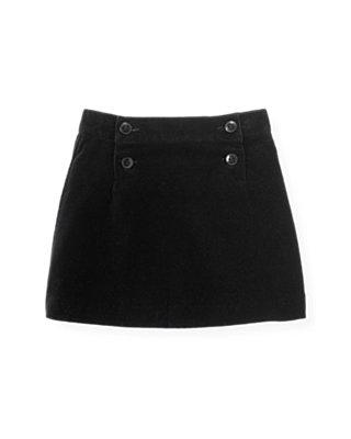Classic Black Velveteen Button Skirt at JanieandJack