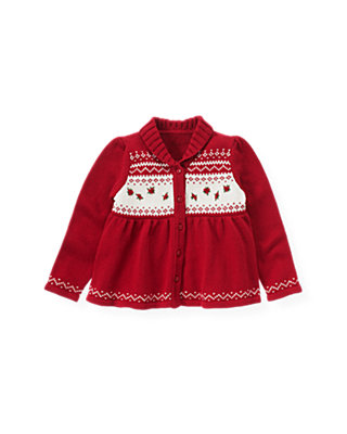 Red Holly Hand-Embroidered Fair Isle Cardigan at JanieandJack