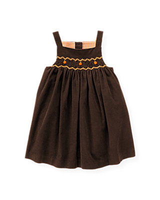 Harvest Brown Pumpkin Hand-Smocked Corduroy Jumper at JanieandJack