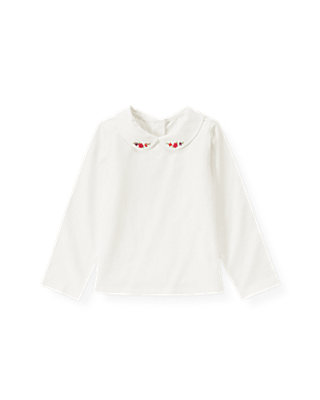 Jet Ivory Hand-Embroidered Collar Top at JanieandJack
