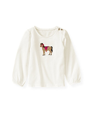 Jet Ivory Horse Appliqué Top at JanieandJack