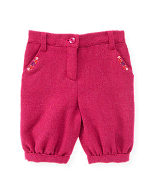 Raspberry Pink Embroidered Tweed Knicker at JanieandJack