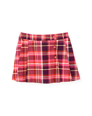 Raspberry Pink Plaid Button Plaid Skirt at JanieandJack