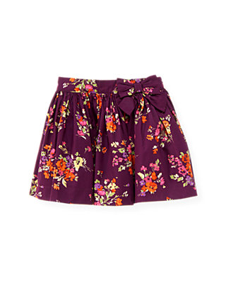 Plum Floral Bow Floral Skirt at JanieandJack