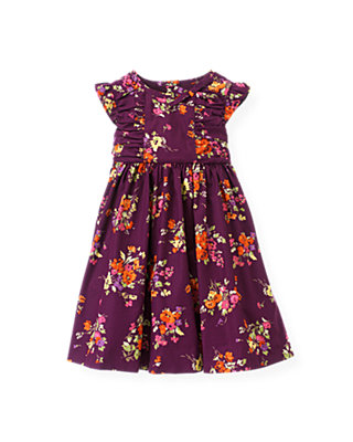 Plum Floral Ruched Floral Dress at JanieandJack