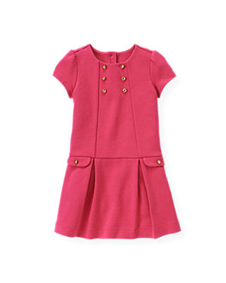 Raspberry Pink Button Ponte Dress at JanieandJack