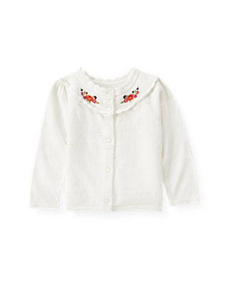 Jet Ivory Hand-Embroidered Floral Cardigan at JanieandJack