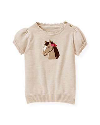 Heather Taupe Horse Sweater Top at JanieandJack