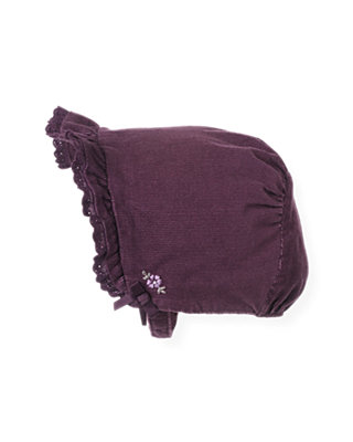 Hydrangea Purple Hand-Embroidered Corduroy Bonnet at JanieandJack
